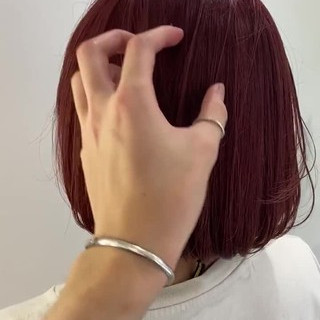 チェリーレッド まとまるボブ ナチュラル モテボブ ヘアスタイルや髪型の写真・画像