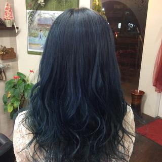グラデーションカラー ネイビーカラー ガーリー セミロング ヘアスタイルや髪型の写真・画像