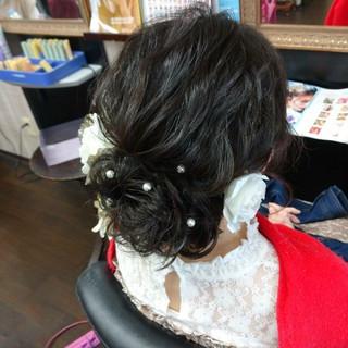 成人式 ヘアアレンジ ナチュラル セミロング ヘアスタイルや髪型の写真・画像