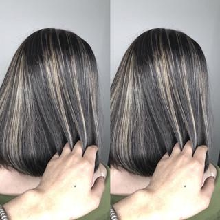 ショートボブ グラデーションカラー ハイライト グレージュ ヘアスタイルや髪型の写真・画像 ヘアスタイルや髪型の写真・画像