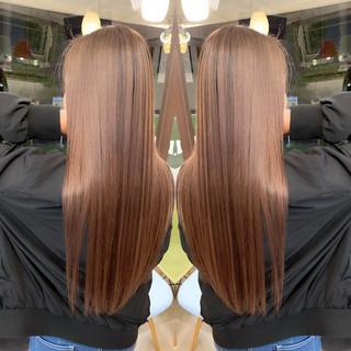 レイヤーロングヘア ストリート ラベンダーピンク エアータッチ ヘアスタイルや髪型の写真・画像
