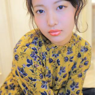 セミロング 簡単ヘアアレンジ 黒髪 ナチュラル ヘアスタイルや髪型の写真・画像