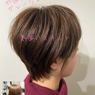 ミニボブ ウルフカット ショート フェミニン ヘアスタイルや髪型の写真・画像