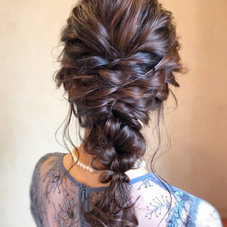 ロング ヘアアレンジ 編みおろし お呼ばれ ヘアスタイルや髪型の写真・画像
