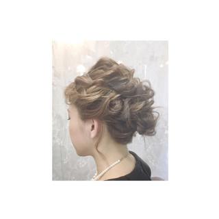 ゆるふわ フェミニン ミディアム ヘアアレンジ ヘアスタイルや髪型の写真・画像