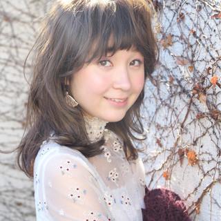 小顔 ガーリー 大人女子 ミディアム ヘアスタイルや髪型の写真・画像