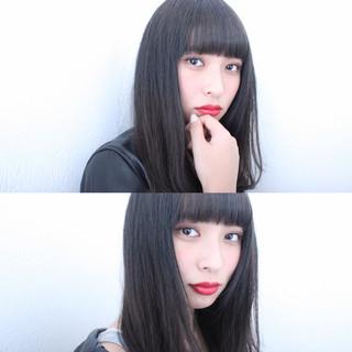 大人女子 小顔 セミロング 前髪あり ヘアスタイルや髪型の写真・画像
