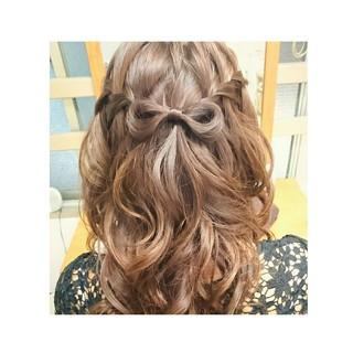 セミロング 大人かわいい ヘアアレンジ ウォーターフォール ヘアスタイルや髪型の写真・画像 ヘアスタイルや髪型の写真・画像