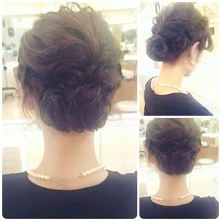 結婚式 ナチュラル ヘアアレンジ 編み込み ヘアスタイルや髪型の写真・画像