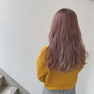 ラベンダー フェミニン ロング ラベンダーピンク ヘアスタイルや髪型の写真・画像
