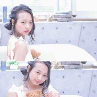 お団子 セミロング ショート ヘアアレンジ ヘアスタイルや髪型の写真・画像