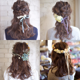 花嫁 ヘアアレンジ 大人かわいい セミロング ヘアスタイルや髪型の写真・画像
