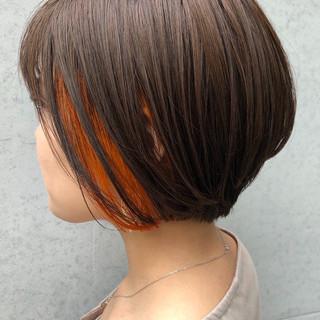 オレンジ 小顔ヘア 女っぽヘア インナーカラー ヘアスタイルや髪型の写真・画像