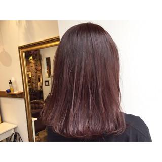 ボルドー 艶髪 パープル ピンク ヘアスタイルや髪型の写真・画像