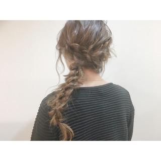 アッシュ 簡単ヘアアレンジ ショート セミロング ヘアスタイルや髪型の写真・画像