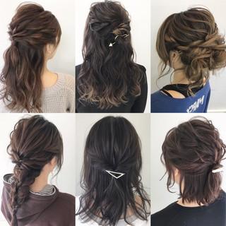 ミディアム デート オフィス 簡単ヘアアレンジ ヘアスタイルや髪型の写真・画像