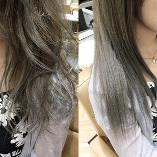 外国人風 アッシュ セミロング ハイライト ヘアスタイルや髪型の写真・画像