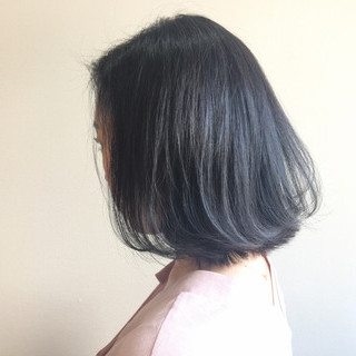 デート ハイトーン ブルージュ ボブ ヘアスタイルや髪型の写真・画像