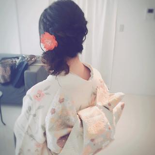 編み込み ヘアアレンジ ミディアム 振袖 ヘアスタイルや髪型の写真・画像