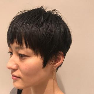 ナチュラル 小顔 ショートバング ショート ヘアスタイルや髪型の写真・画像