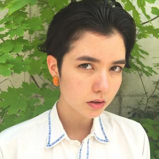 外国人風 透明感 ショート 黒髪 ヘアスタイルや髪型の写真・画像