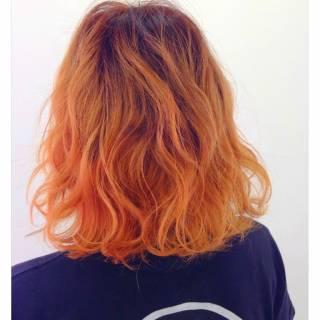 オレンジ 秋 グラデーションカラー 外国人風 ヘアスタイルや髪型の写真・画像