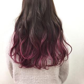ピンク ロング ガーリー 個性的 ヘアスタイルや髪型の写真・画像