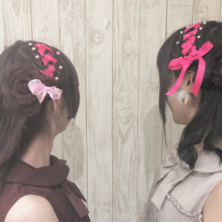 ガーリー ヘアメイク イベント リボン ヘアスタイルや髪型の写真・画像