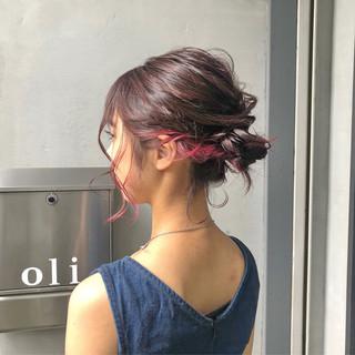 デート セミロング 簡単ヘアアレンジ ガーリー ヘアスタイルや髪型の写真・画像