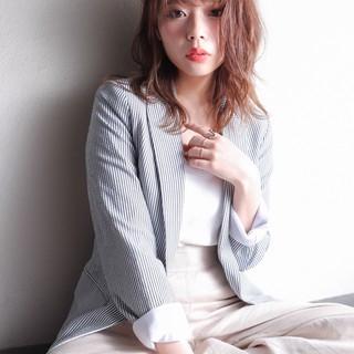 オフィス モテ髪 セミロング コンサバ ヘアスタイルや髪型の写真・画像