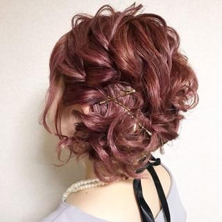 結婚式 ウェーブ ヘアアレンジ ボブ ヘアスタイルや髪型の写真・画像
