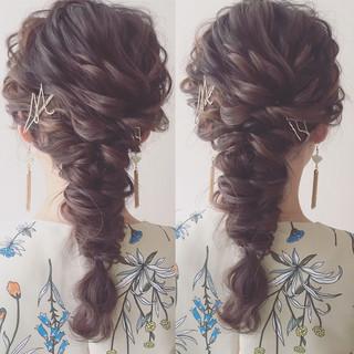セミロング パーティ 大人かわいい 結婚式 ヘアスタイルや髪型の写真・画像