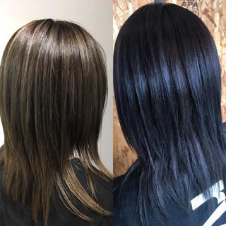 モード ロング ローライト ブルージュ ヘアスタイルや髪型の写真・画像