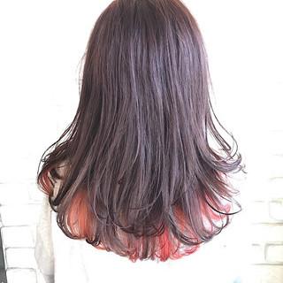 カラフルカラー ロング モード グラデーションカラー ヘアスタイルや髪型の写真・画像