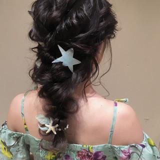パーティ 大人かわいい 編み込み ヘアアレンジ ヘアスタイルや髪型の写真・画像