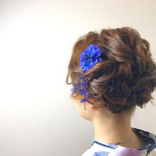 ヘアアレンジ 花火大会 エレガント 上品 ヘアスタイルや髪型の写真・画像