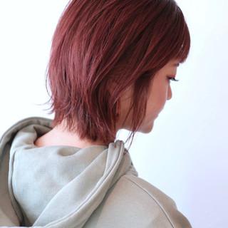 ラベンダーピンク ストリート ミニボブ ピンク ヘアスタイルや髪型の写真・画像