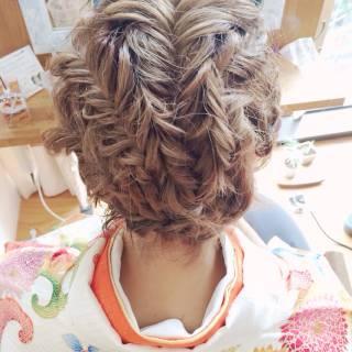 編み込み ヘアアレンジ 成人式 コンサバ ヘアスタイルや髪型の写真・画像
