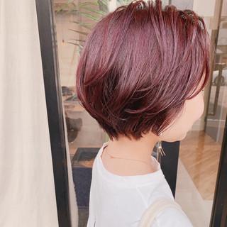 ナチュラル ショート ラベンダーピンク ショートヘア ヘアスタイルや髪型の写真・画像