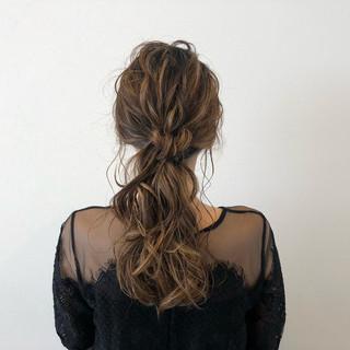 簡単ヘアアレンジ ポニーテール 結婚式 ロング ヘアスタイルや髪型の写真・画像