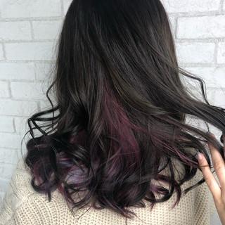 透明感カラー 春 ロング ラベンダーピンク ヘアスタイルや髪型の写真・画像