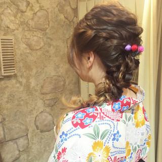 ヘアアレンジ 成人式 お祭り 編み込み ヘアスタイルや髪型の写真・画像