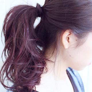 簡単ヘアアレンジ ヘアアレンジ ラベンダーピンク ピンク ヘアスタイルや髪型の写真・画像 ヘアスタイルや髪型の写真・画像