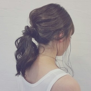 夏 簡単ヘアアレンジ 外国人風 セミロング ヘアスタイルや髪型の写真・画像