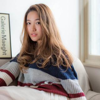 外国人風 ロング 丸顔 ナチュラル ヘアスタイルや髪型の写真・画像 ヘアスタイルや髪型の写真・画像