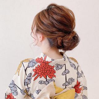ヘアアレンジ セミロング 浴衣ヘア 結婚式 ヘアスタイルや髪型の写真・画像