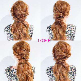 簡単ヘアアレンジ ヘアアレンジ アウトドア オフィス ヘアスタイルや髪型の写真・画像