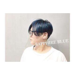ネイビー ブルー ストリート ブルーアッシュ ヘアスタイルや髪型の写真・画像