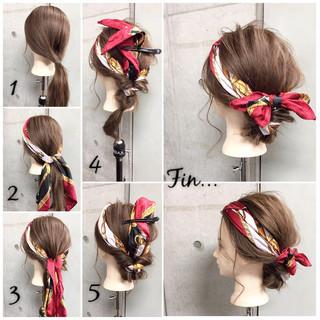 ヘアアクセ セミロング ショート 簡単ヘアアレンジ ヘアスタイルや髪型の写真・画像