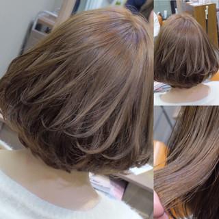 アッシュ フェミニン ボブ 色気 ヘアスタイルや髪型の写真・画像